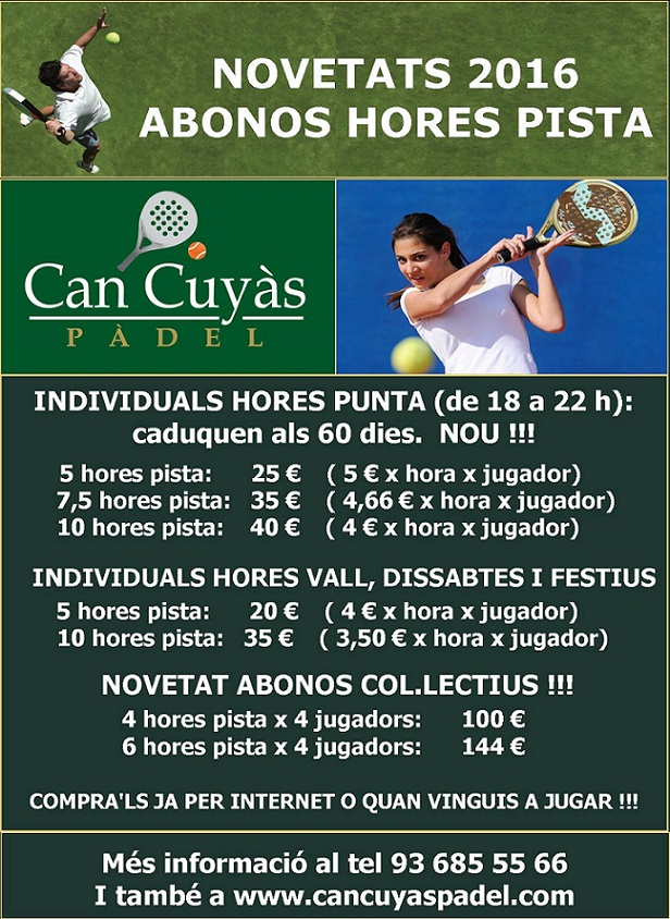 ABONOS HORES PISTA 2016 email